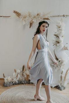 Midi Dress Blue — We Are Flowergirls Blue Midi Dress, Blue Dresses, Flower Girl Dresses, Drapery Wedding, Ibiza Wedding, Convertible Dress, Jumpsuit Dress, Slow Fashion, Designer Dresses