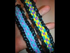 ELONGATED CHECKERBOARD Rainbow Loom Bracelet. Designed and loomed by Ellen Carpenter. Click photo for YouTube tutorial on the feelinspiffy channel.