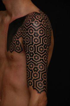 Fuck Yeah Blackwork Tattoos - Shoulder/arm byGerhard Wiesbeck, Time Travelling...