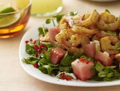 Grilled Hot-and-Sour Shrimp with Watermelon-Watercress Salad Seafood Salad, Fish And Seafood, Pasta Salad, Shrimp Recipes, Salad Recipes, Rachel Ray Recipes, Savory Salads, Watercress Salad, Hot Pepper Sauce