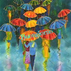 Yelena Sidorova Art - Exclusive Original Art for Sale Umbrella Painting, Umbrella Art, Cross Paintings, Original Paintings, Ecole Art, Pics Art, Mixed Media Artwork, Original Art For Sale, Silk Painting