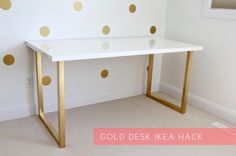 Gold Desk | Level up your old furniture with these cool DIY IKEA hacks.    | Amazing IKEA Hacks For Chic And Functional Pieces