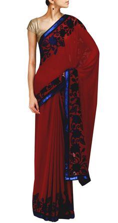ROHIT BAL Wine silk georgette sari with Velvet Applique www.perniaspopupshop.com