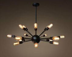 Sputnik chandelier: Let's fall in love with the best mid-century lighting design Industrial Style Lighting, Industrial Chandelier, Globe Chandelier, Sputnik Chandelier, Globe Pendant, Modern Chandelier, Chandelier Lighting, Modern Lighting, Pendant Lamp