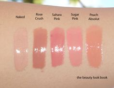 The Beauty Look Book: Tom Ford Lip Glosses: Naked, Crushed Rose, Sahara Pink, Peach Absolut & Sugar Pink