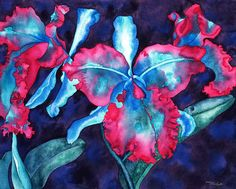"""As with many of my pieces, """"Dark Laeliocattleya"""" is not a botanical illustration. The original painting is in a private collection. """"Dark Laeliocattleya"""" is now available as a limited edition print at www.sarasteele.com/limited-edition-prints.html  #orchid #cattleya"""