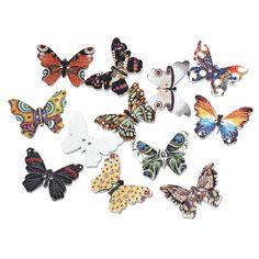 "DoreenBeads Wood Sewing Button Scrapbooking Butterfly At Random 2 Holes Pattern Pattern 25.0mm(1"")x 18.0mm( 6/8""),9 PCs 2016 new"