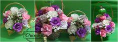 Aranjament floral - Cos cu flori din hartie creponata Aceasta iarna neasteptata m-a tintuit in casa timp de o saptamana. Gradinitele si scolile inchise, deci,