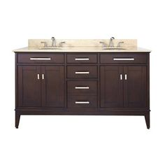 Avanity MADISON-VS60 Madison Light Espresso Undermount Double Sink Bathroom Vanity with Natural Marble Top