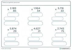 Ficha de solucionar multiplicaciones de 2 cifras para Primaria