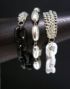 WHITE Chunky Acrylic Link Bracelet by Links & Locks, $18.00