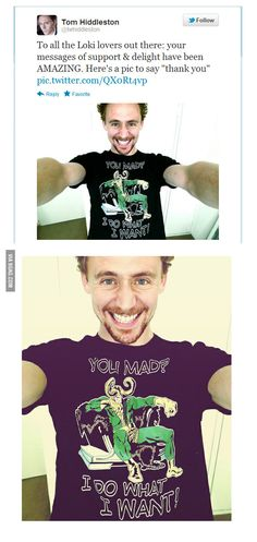 Just Loki wearing a Loki inspired shirt