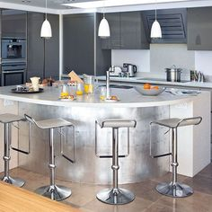 Metallic curved island   Kitchen islands   housetohome.co.uk
