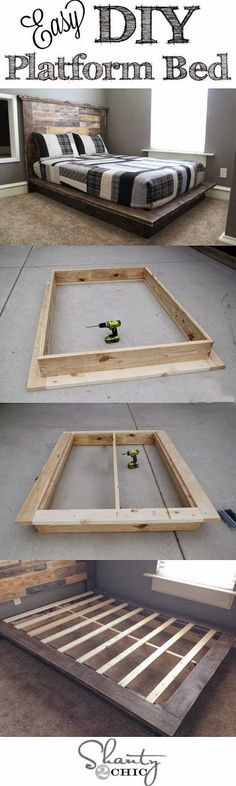 Fabriquer un lit plateforme en bois. Flatbed bed diy How do I create a DIY headboard and bed frame?How do I create a DIY headboard and bed simple DIY headboards that you can build Diy Furniture Projects, Cool Diy Projects, Pallet Furniture, Furniture Plans, Bedroom Furniture, Building Furniture, Wood Projects, Apartment Furniture, Woodworking Furniture
