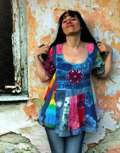 Reserved for Scrappydoc Magical recycled denim  and colorful tshirts  hippie boho dress tunic