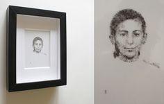 """Gil Gijón - Obra """"María del Carmen con coleta."""" (2014) Marco: 30 x 21 cm. Retrato: 15 x 9 cm. Polvo adherido sobre acetato. http://gilgijon.com"""