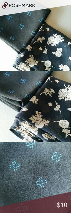"LOT of 2 Floral Print Bandana Handkerchief • Brand: Unknown  • Style: Bandana/Handkerchief  • Size: 18"" x 18"" each • Color: Black, Navy, Ivory • Material: Unknown • Condition: NWOT ☆ Received as gift. No tags but come w/ original plastic sleeves. Only taken out for photos. Still has original creases! Accessories"