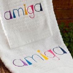 Toalha Bordada Amiga - R$59 @alfaiascasa #toalha #bordado #amiga