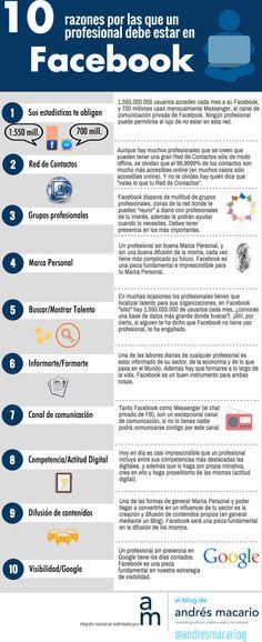 10 razones por las que un profesional debe estar en Facebook #infografia #socialmedia