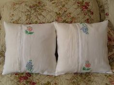 MarmaladeRose: Vintage Embroidered Patchwork Cushions.