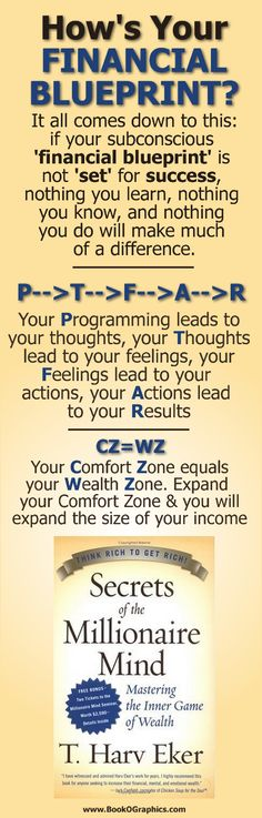 "How's your financial blueprint? - a BookOGraphic based on the book ""Secrets of the Millionaire Mind"" by T. Harv Eker"