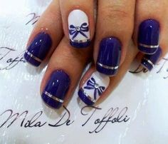 Cute bow purple nailart #nails #whitenails #stripes - bellashoot.com