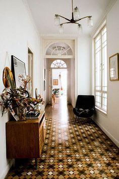 tiled hallway in barcelona home of designer paloma lanna. / sfgirlbybay