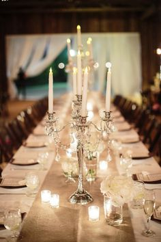 candelabra candle wedding yes my wedding will more then likely be a candle and shimmer wedding w/ all lights and tents and burlap runners, banquet style.