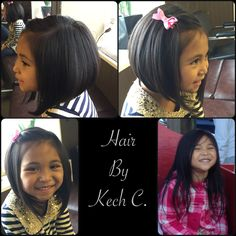 Here's one of the Most Beautiful Little Girl I've meet , Little Miss Lany . Came in for a Haircut . From Long Straggly Knotted Hair to a Short & Sassy with Fullness . I Absolutely Love Little Girl with A Cute Bob HairCut . #ShesJustTooCute #HairByKechC #AngledBobHairCut #NothingButSmiles☺️