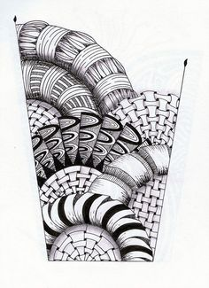 Interesting shaped zentangle. Love those 3-D curved shapes!