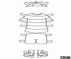 Caillou's clothes for the summer: t-shirt and shorts coloring page