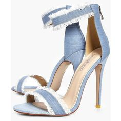 Boohoo Laila Frayed Edge Denim Two Part Heels (325 GTQ) ❤ liked on Polyvore featuring shoes, sandals, block heel shoes, block heel sandals, evening sandals, high heeled footwear and evening shoes