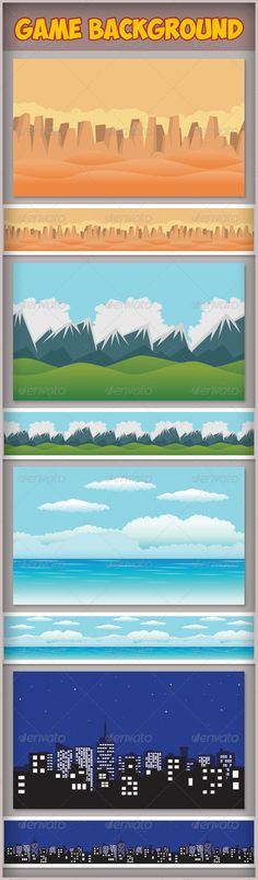 Game Assets - Game Background ...  action, adventure, android, assets, background, cartoon, casual, city, desert, design, elements, flash, forest, game, graphic, html5, ios, iphone, mobile, mountain, ocean, pack, parallax, repeat, scene, side scrolling, sky, snow, template, vector