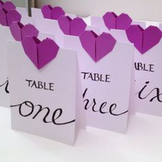 Wedding Table Numbers  Origami Hearts  Calligraphy by nikkiPOParts, $20.00