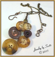 Brown Recycled Upcycled Button Brass Chain by JewelryByScotti, $20.00