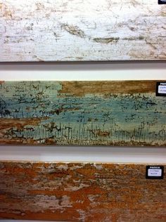 """Love these weathered """"wood look"""" tiles."""