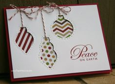 Cherry Cobbler - 5 1/2 x 4 1/4 Whisper White - 5 1/4 x 4 Ornament cut-outs x 3 Cherry Cobbler baker's twine Christmas DSP (last year's) Peace on Earth stamp