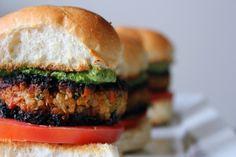 Veggie Masala Burgers with Cilantro Chutney Aioli