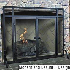 Uniflame Single Panel Iron Fireplace Screen with Doors - S-1146 ...