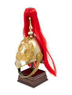 Original British Household Cavalry Horse Guard Parade Helmet with Red Plume