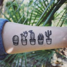 """414 Likes, 13 Comments - NatureTats ~ TEMPORARY TATTOOS (@naturetats) on Instagram: """"Tiny potted cactus temporary tattoos! They're listed in our shop, you'll get all 5! Getcha some! #…"""" Browse through over 7,500+ high quality unique tattoo designs from the world's best tattoo artists!"""