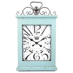 WANT!!!!! Large Antique Turquoise Rectangular Metal & Wood Wall Clock with Top Loop   Shop Hobby Lobby