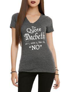 Quote Macbeth No Girls V-Neck T-Shirt, BLACK