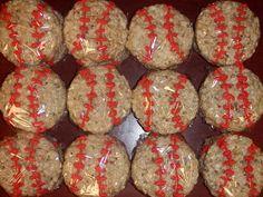 Cute twist on your standard rice krispie treats for baseball teams.  http://www.the-crafty-penguin.com/2010/08/baseball-rice-crispies.html