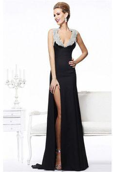 Ethereal V-neck Zipper Sleeveless Floor-length Sheath Evening Dresses