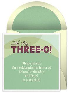 Free invitation design for a 30th birthday.