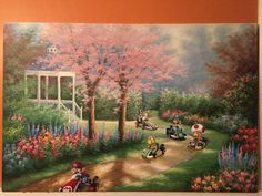 Pop culture icons like Mario and company make a perfect compliment to this bucolic painting.