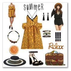 """""""Relax Summer"""" by ludmyla-stoyan ❤ liked on Polyvore featuring Victoria, Victoria Beckham, West Coast Wardrobe, Bare Escentuals, San Diego Hat Co., Sarah's Bag, MANGO, Oscar de la Renta and Jimmy Choo"""