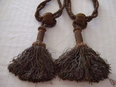 Stunning Tassels Tie Backs Shades of Brown Silk . A pair. Late 1800s. Castle Clearance.