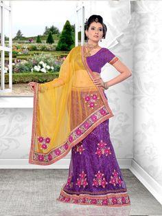 $81.96 Purple Embroidered Net Wedding Lehenga Choli 21957